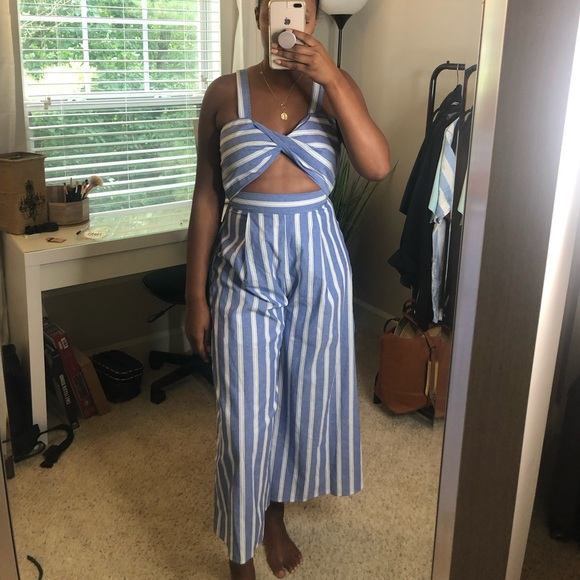 Other - Blue Striped Cut Out Jumpsuit